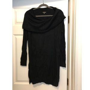 Black sweater dress with cowl